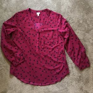 Merlot and Navy Polka dot blouse size L